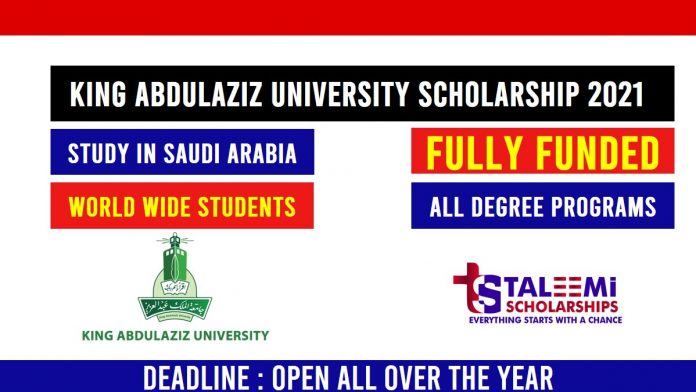 King Abdulaziz University scholarship 2021-Taleemi Scholarships